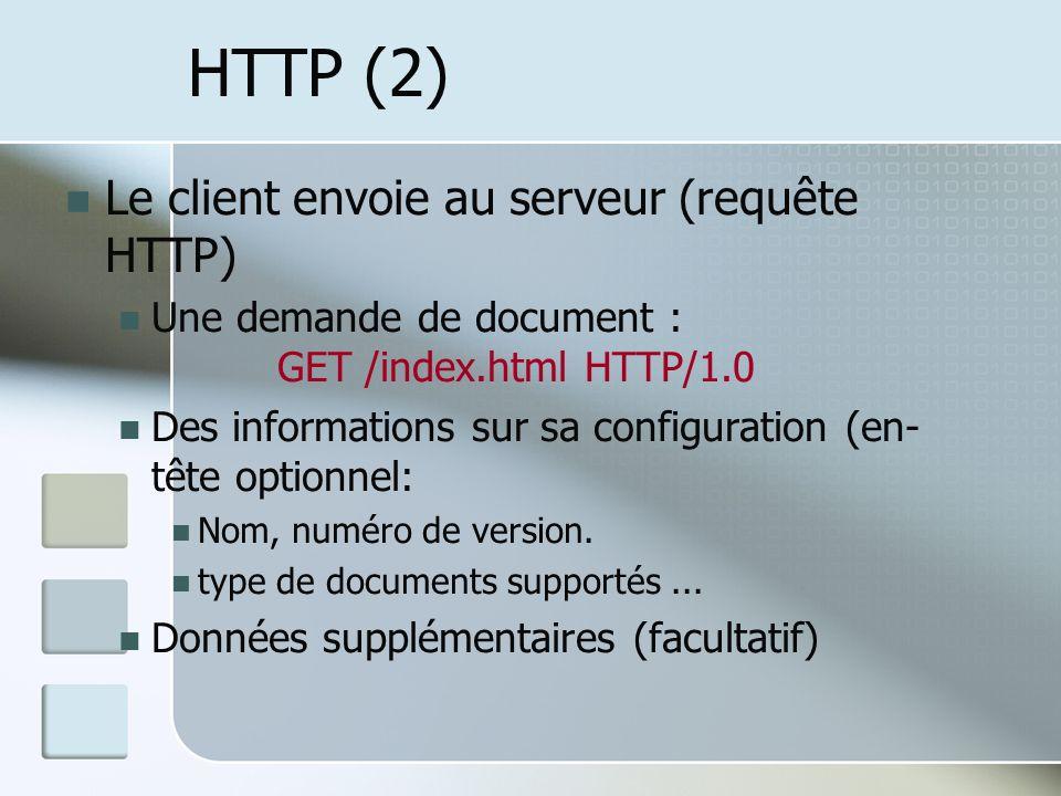 HTTP (2) Le client envoie au serveur (requête HTTP) Une demande de document : GET /index.html HTTP/1.0 Des informations sur sa configuration (en- tête optionnel: Nom, numéro de version.