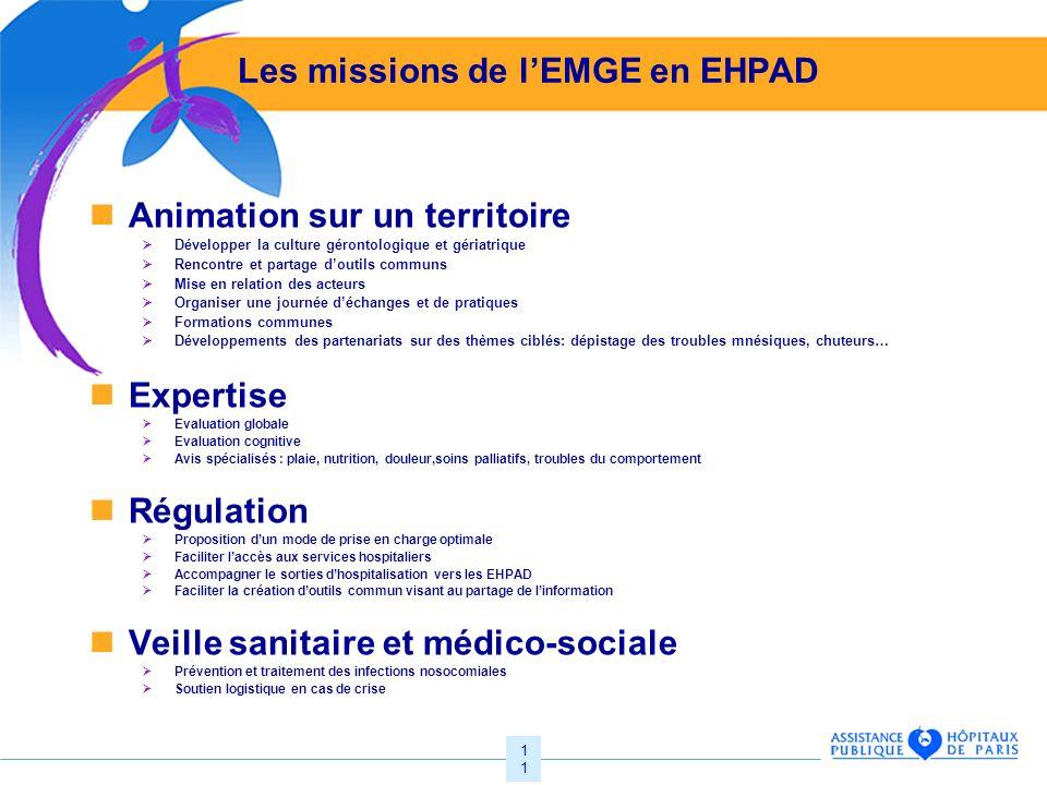 11 Les missions de lEMGE en EHPAD Animation sur un territoire Développer la culture gérontologique et gériatrique Rencontre et partage doutils communs