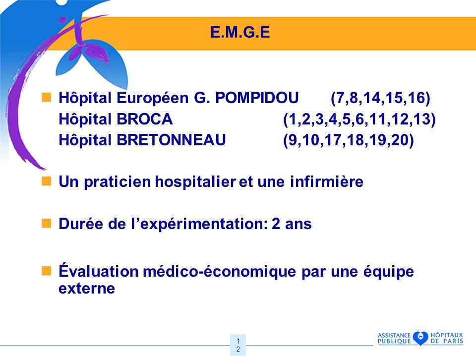 12 E.M.G.E Hôpital Européen G. POMPIDOU (7,8,14,15,16) Hôpital BROCA (1,2,3,4,5,6,11,12,13) Hôpital BRETONNEAU (9,10,17,18,19,20) Un praticien hospita