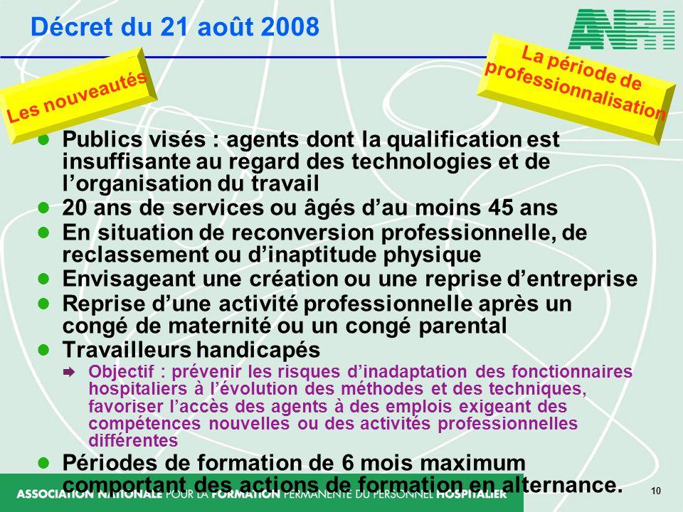 10 Publics visés : agents dont la qualification est insuffisante au regard des technologies et de lorganisation du travail 20 ans de services ou âgés