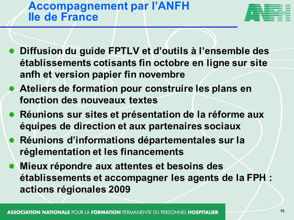 16 Diffusion du guide FPTLV et doutils à lensemble des établissements cotisants fin octobre en ligne sur site anfh et version papier fin novembre Atel