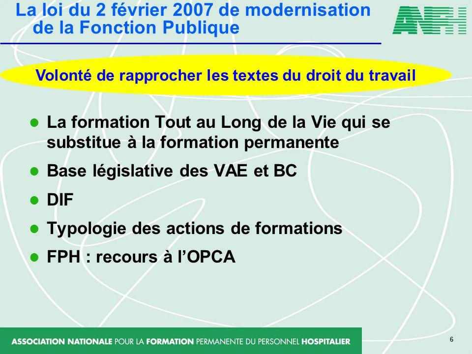 6 La formation Tout au Long de la Vie qui se substitue à la formation permanente Base législative des VAE et BC DIF Typologie des actions de formation