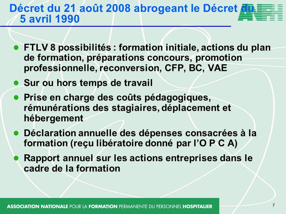 7 FTLV 8 possibilités : formation initiale, actions du plan de formation, préparations concours, promotion professionnelle, reconversion, CFP, BC, VAE