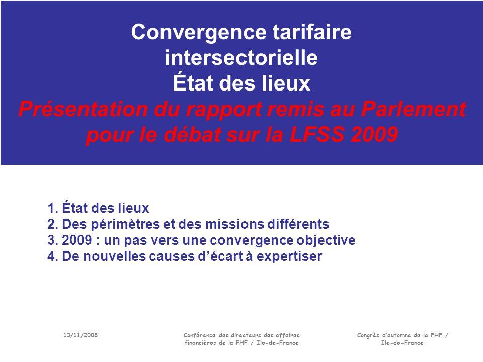 13/11/2008Conférence des directeurs des affaires financières de la FHF / Ile-de-France Congrès dautomne de la FHF / Ile-de-France Convergence tarifaire intersectorielle État des lieux Présentation du rapport remis au Parlement pour le débat sur la LFSS 2009 1.