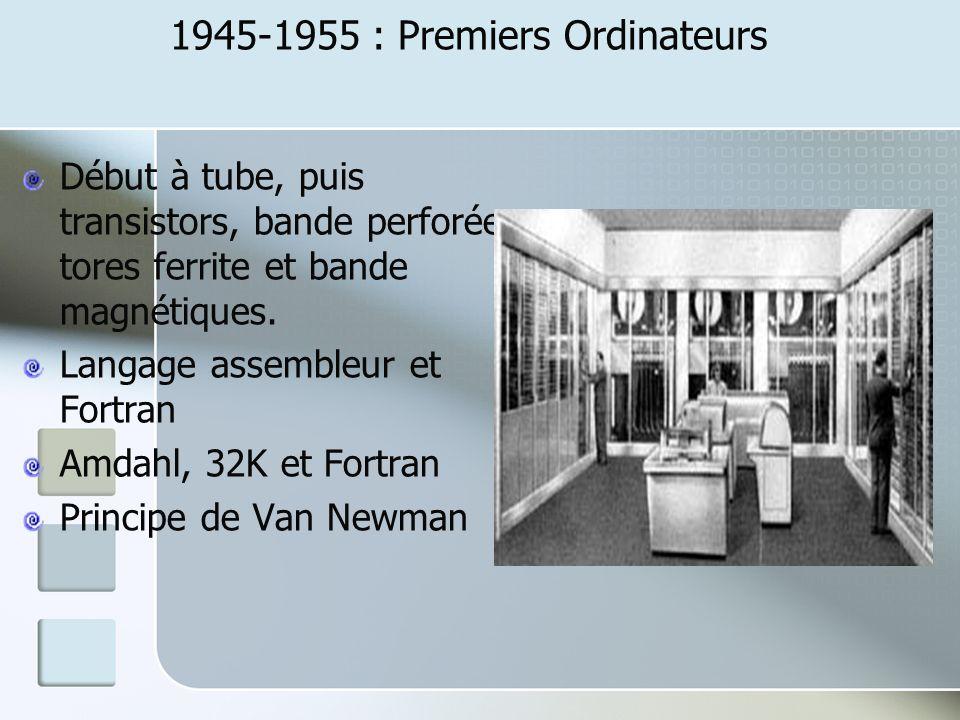 1945-1955 : Premiers Ordinateurs Début à tube, puis transistors, bande perforée, tores ferrite et bande magnétiques. Langage assembleur et Fortran Amd