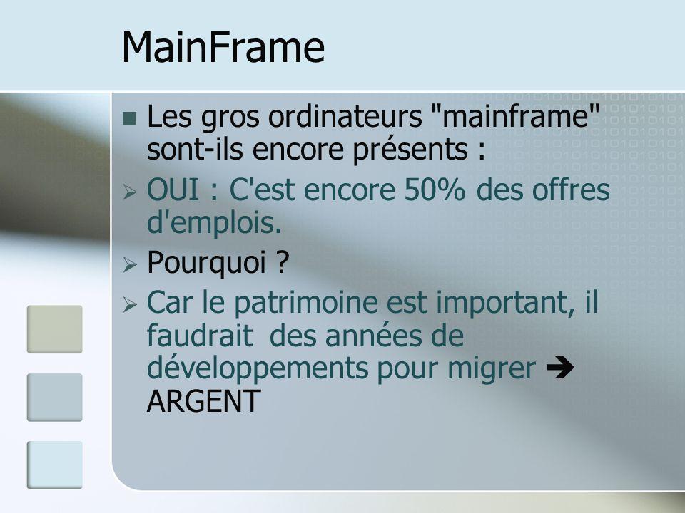 MainFrame Les gros ordinateurs mainframe sont-ils encore présents : OUI : C est encore 50% des offres d emplois.