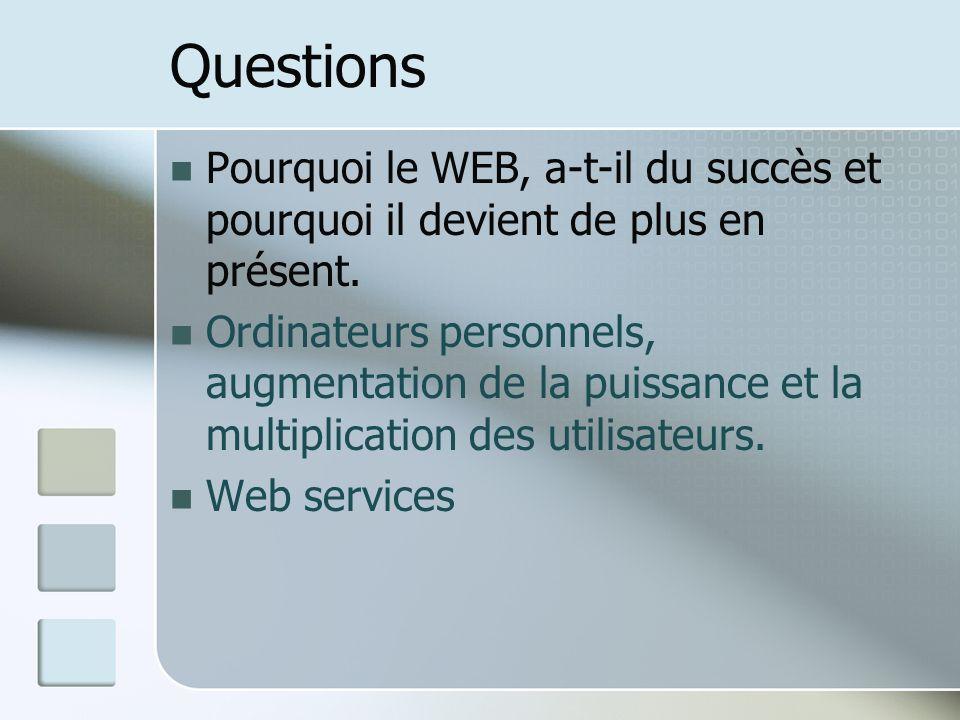 Questions Pourquoi le WEB, a-t-il du succès et pourquoi il devient de plus en présent.