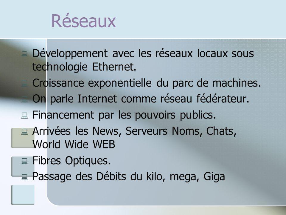Réseaux : Développement avec les réseaux locaux sous technologie Ethernet. : Croissance exponentielle du parc de machines. : On parle Internet comme r