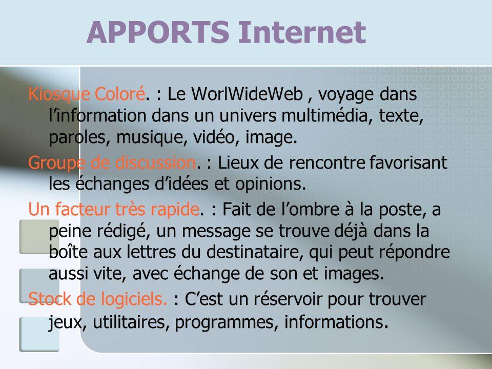 APPORTS Internet Kiosque Coloré. : Le WorlWideWeb, voyage dans linformation dans un univers multimédia, texte, paroles, musique, vidéo, image. Groupe