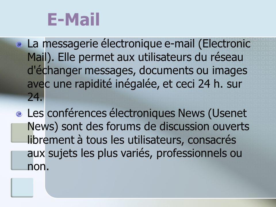 E-Mail La messagerie électronique e-mail (Electronic Mail). Elle permet aux utilisateurs du réseau d'échanger messages, documents ou images avec une r