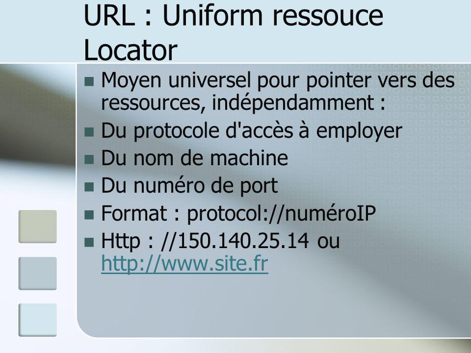 URL : Uniform ressouce Locator Moyen universel pour pointer vers des ressources, indépendamment : Du protocole d accès à employer Du nom de machine Du numéro de port Format : protocol://numéroIP Http : //150.140.25.14 ou http://www.site.fr http://www.site.fr