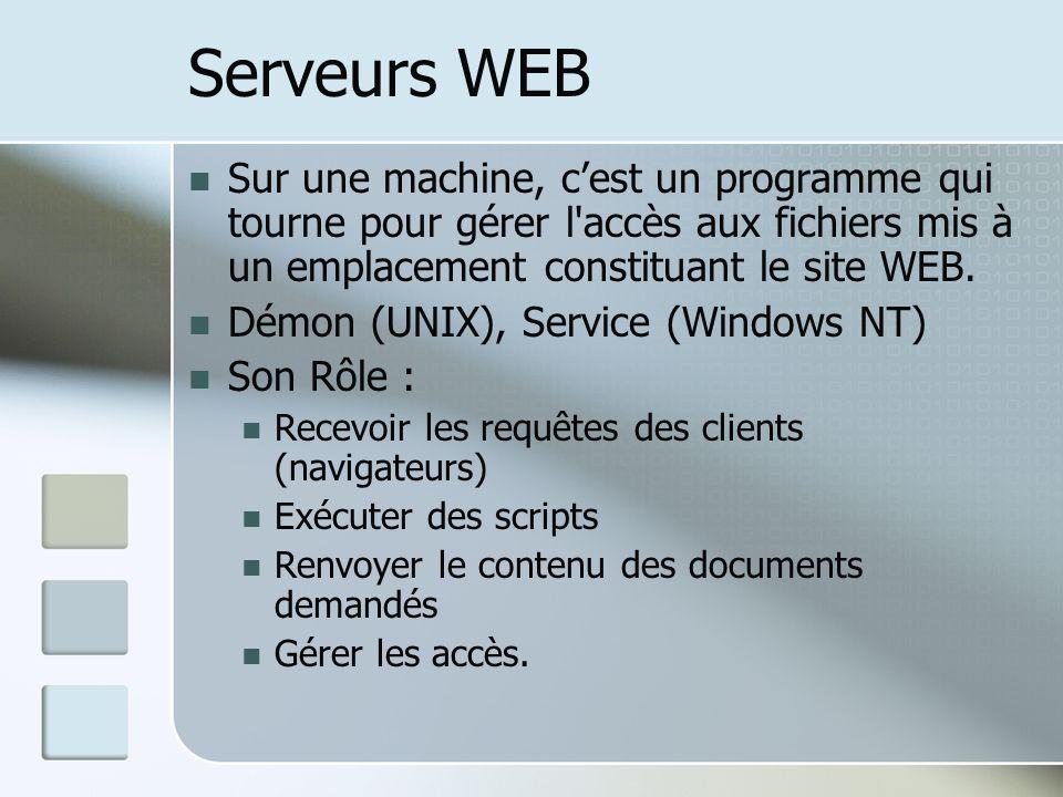 Serveurs WEB Sur une machine, cest un programme qui tourne pour gérer l accès aux fichiers mis à un emplacement constituant le site WEB.