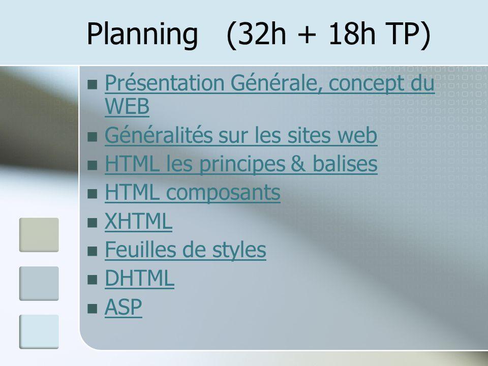 Planning (32h + 18h TP) Présentation Générale, concept du WEB Présentation Générale, concept du WEB Généralités sur les sites web HTML les principes &