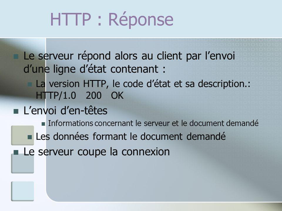 HTTP : Réponse Le serveur répond alors au client par lenvoi dune ligne détat contenant : La version HTTP, le code détat et sa description.: HTTP/1.0 200 OK Lenvoi den-têtes Informations concernant le serveur et le document demandé Les données formant le document demandé Le serveur coupe la connexion