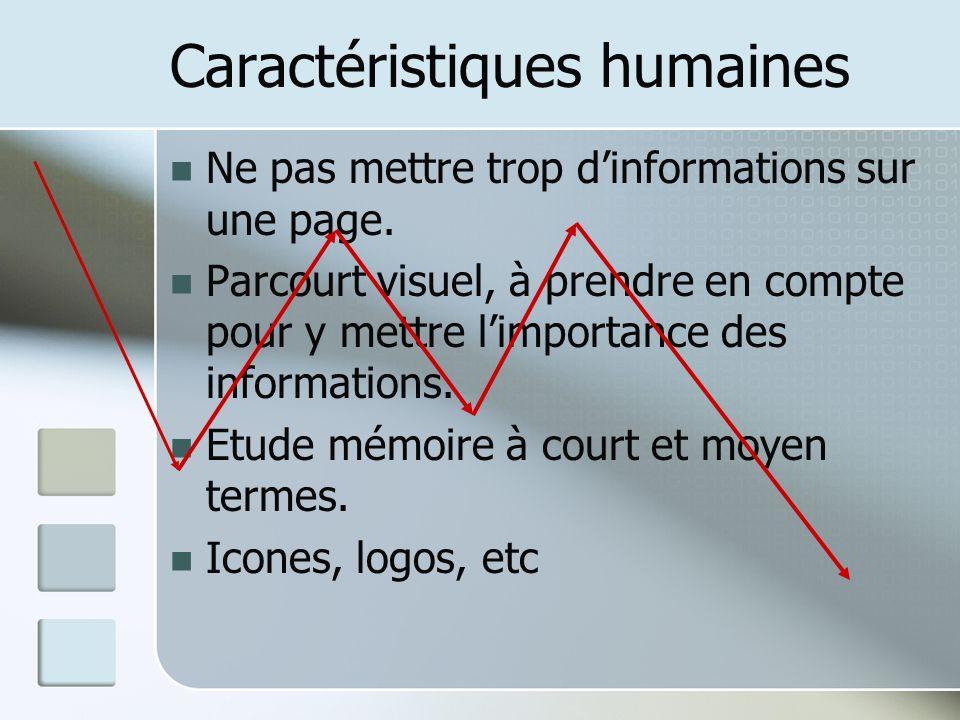 Caractéristiques humaines Ne pas mettre trop dinformations sur une page. Parcourt visuel, à prendre en compte pour y mettre limportance des informatio