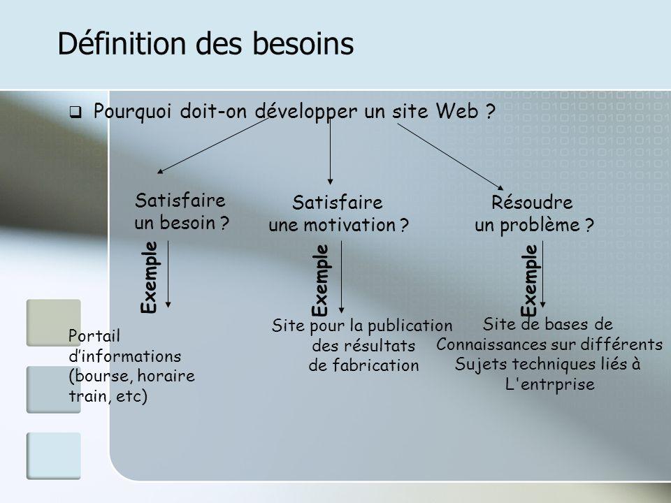 Définition des besoins Pourquoi doit-on développer un site Web ? Satisfaire un besoin ? Satisfaire une motivation ? Résoudre un problème ? Portail din