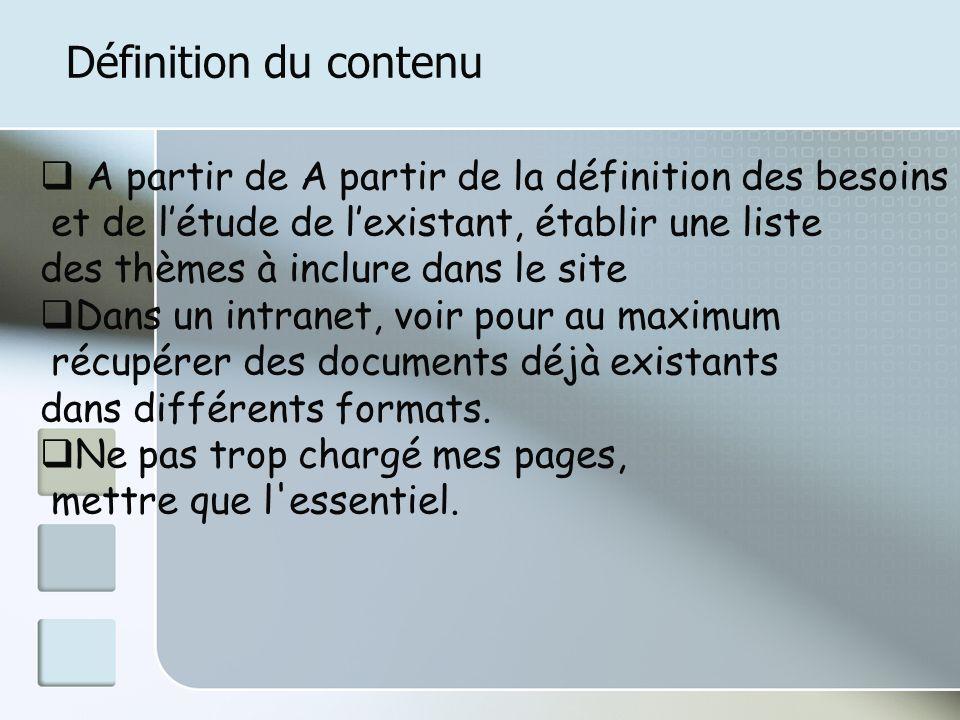 Définition du contenu A partir de A partir de la définition des besoins et de létude de lexistant, établir une liste des thèmes à inclure dans le site Dans un intranet, voir pour au maximum récupérer des documents déjà existants dans différents formats.