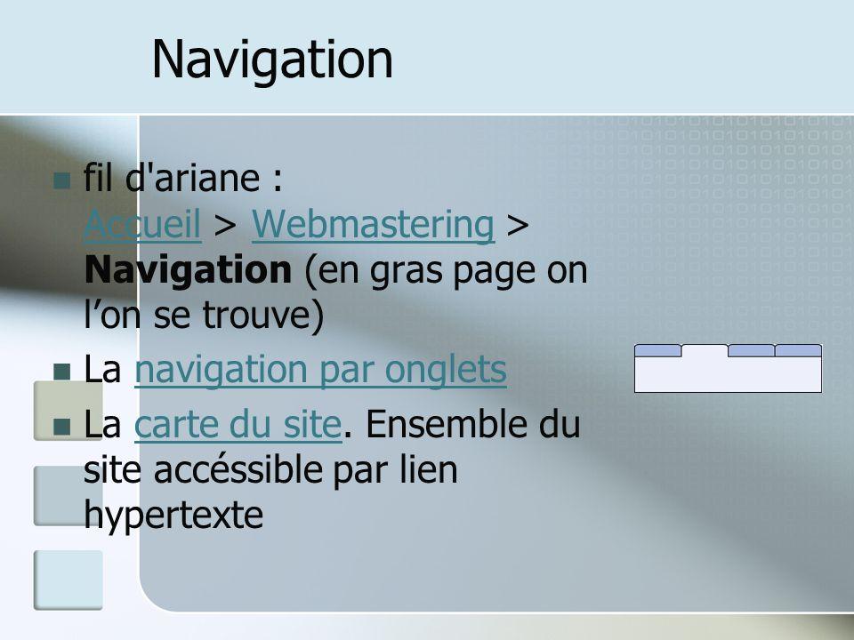 Navigation fil d ariane : Accueil > Webmastering > Navigation (en gras page on lon se trouve) AccueilWebmastering La navigation par onglets navigation par onglets La carte du site.
