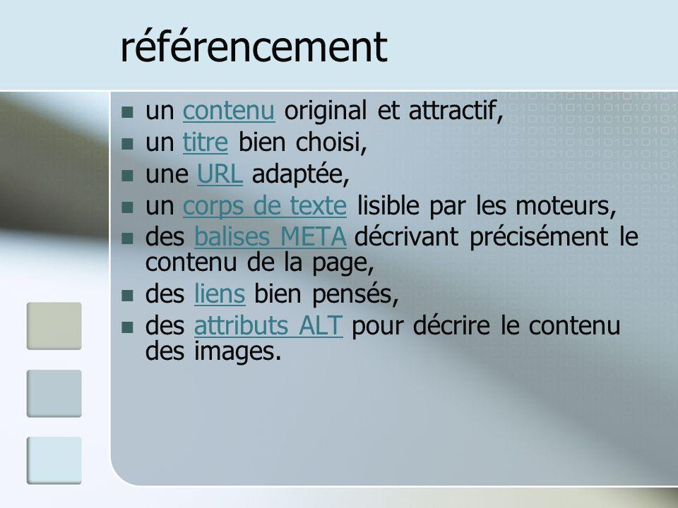 référencement un contenu original et attractif,contenu un titre bien choisi,titre une URL adaptée,URL un corps de texte lisible par les moteurs,corps