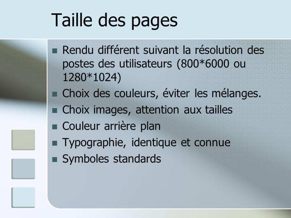 Taille des pages Rendu différent suivant la résolution des postes des utilisateurs (800*6000 ou 1280*1024) Choix des couleurs, éviter les mélanges.