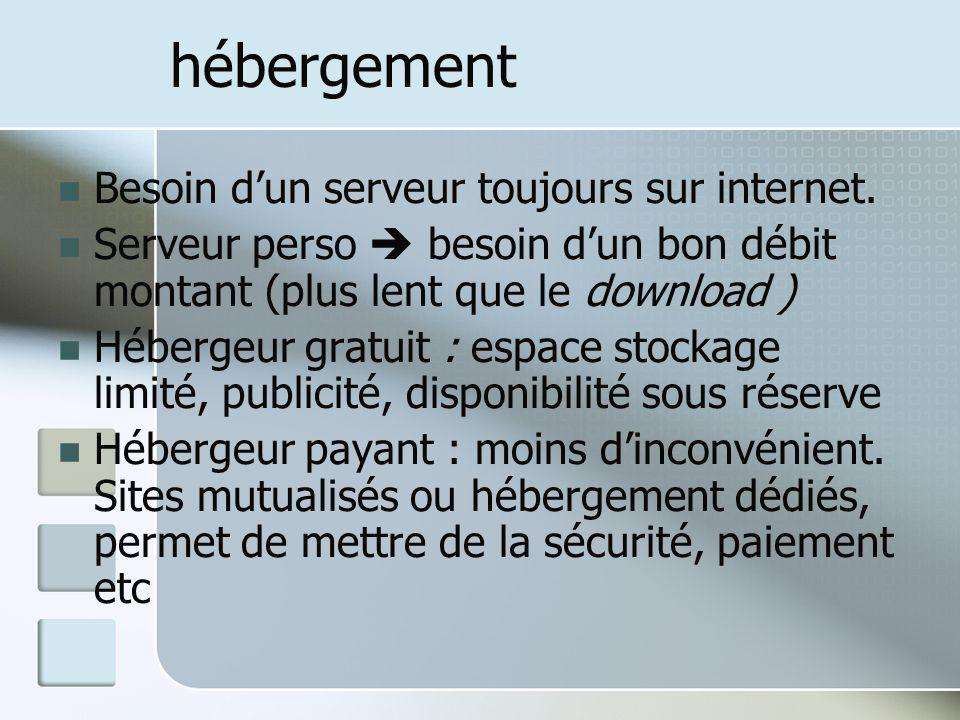 hébergement Besoin dun serveur toujours sur internet. Serveur perso besoin dun bon débit montant (plus lent que le download ) Hébergeur gratuit : espa