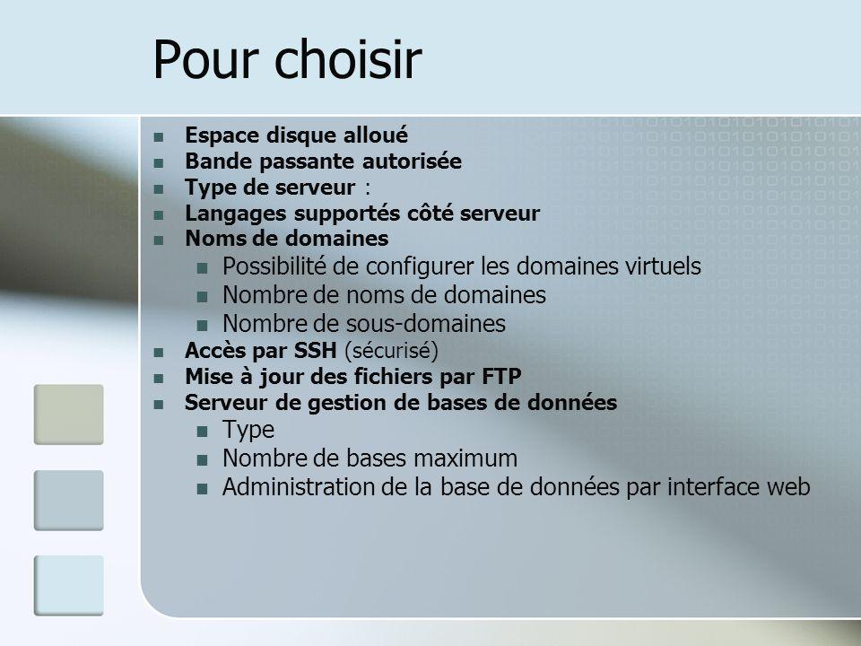 Pour choisir Espace disque alloué Bande passante autorisée Type de serveur : Langages supportés côté serveur Noms de domaines Possibilité de configure