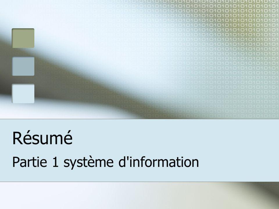 Résumé Partie 1 système d information