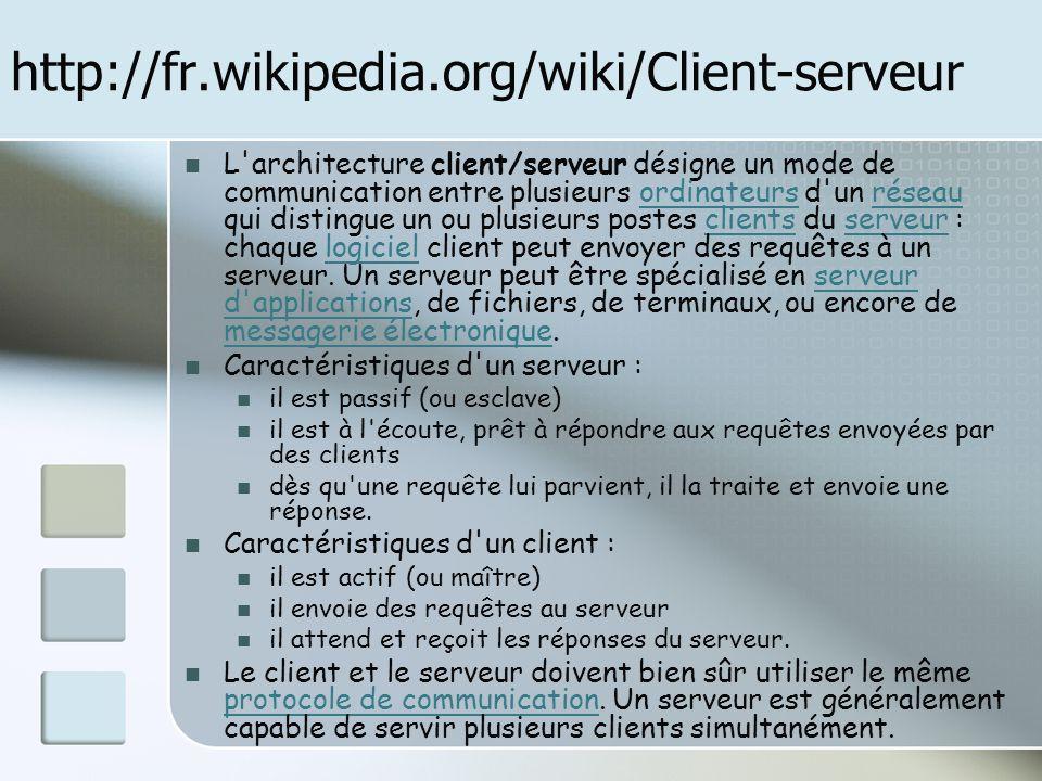 http://fr.wikipedia.org/wiki/Client-serveur L'architecture client/serveur désigne un mode de communication entre plusieurs ordinateurs d'un réseau qui