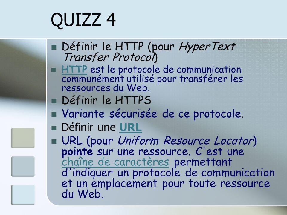 QUIZZ 4 Définir le HTTP (pour HyperText Transfer Protocol) HTTP est le protocole de communication communément utilisé pour transférer les ressources du Web.