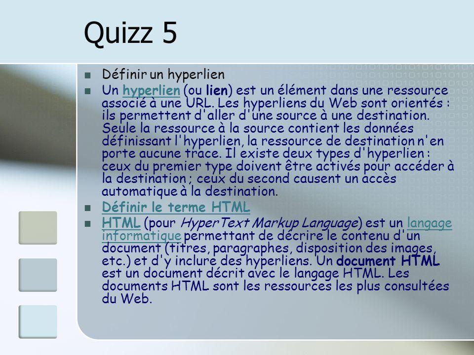 Quizz 5 Définir un hyperlien Un hyperlien (ou lien) est un élément dans une ressource associé à une URL. Les hyperliens du Web sont orientés : ils per