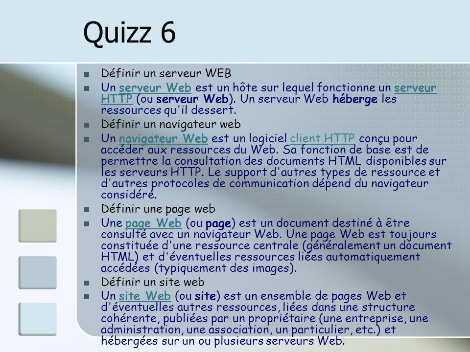 Quizz 6 Définir un serveur WEB Un serveur Web est un hôte sur lequel fonctionne un serveur HTTP (ou serveur Web). Un serveur Web héberge les ressource