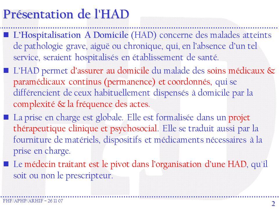FHF/APHP/ARHIF – 26 11 07 2 Présentation de l HAD LHospitalisation A Domicile (HAD) concerne des malades atteints de pathologie grave, aiguë ou chronique, qui, en labsence dun tel service, seraient hospitalisés en établissement de santé.