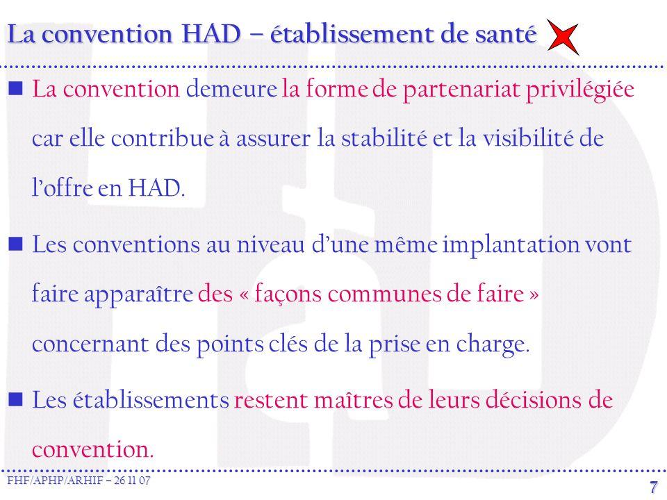 FHF/APHP/ARHIF – 26 11 07 7 La convention HAD – établissement de santé La convention demeure la forme de partenariat privilégiée car elle contribue à assurer la stabilité et la visibilité de loffre en HAD.