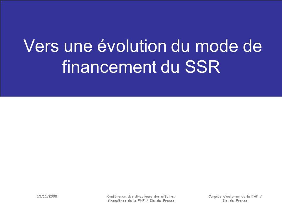 13/11/2008Conférence des directeurs des affaires financières de la FHF / Ile-de-France Congrès dautomne de la FHF / Ile-de-France Vers une évolution du mode de financement du SSR