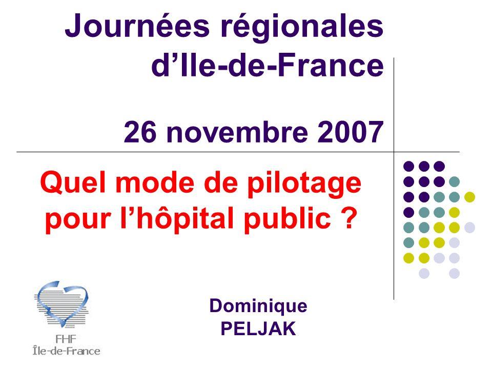 Journées régionales dIle-de-France 26 novembre 2007 Dominique PELJAK Quel mode de pilotage pour lhôpital public