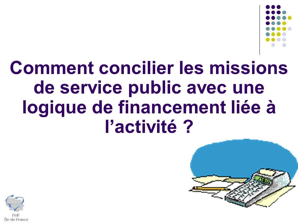 Comment concilier les missions de service public avec une logique de financement liée à lactivité