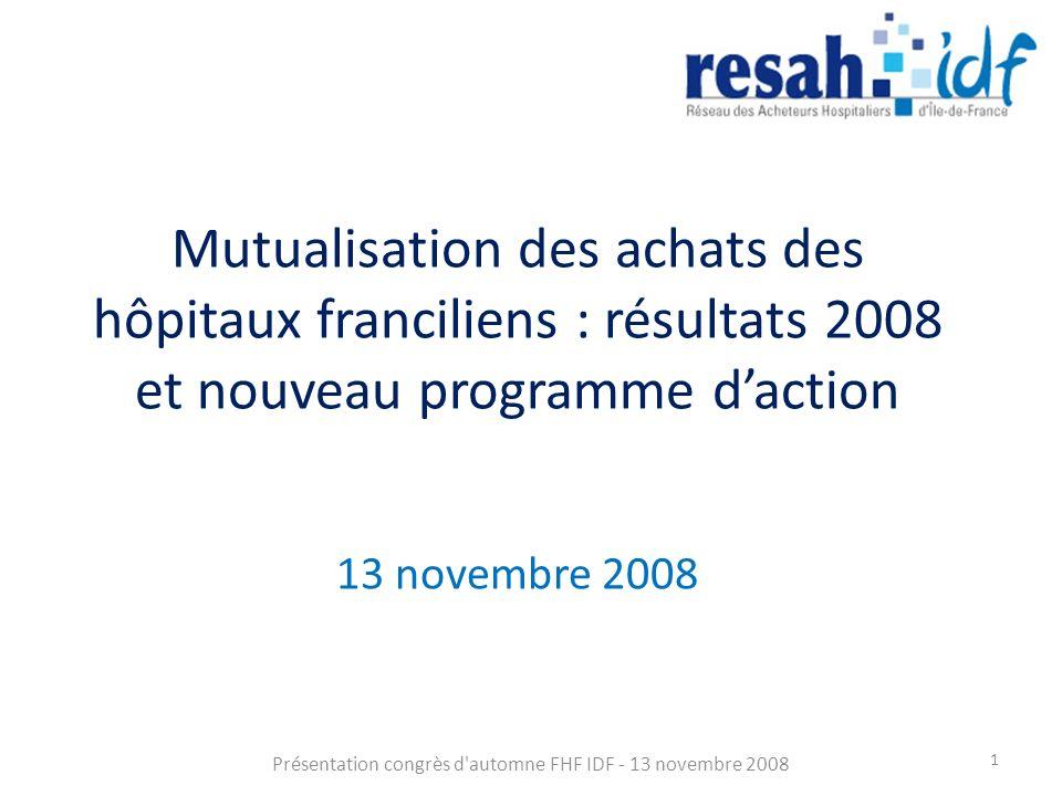 Mutualisation des achats des hôpitaux franciliens : résultats 2008 et nouveau programme daction 13 novembre 2008 Présentation congrès d automne FHF IDF - 13 novembre 2008 1