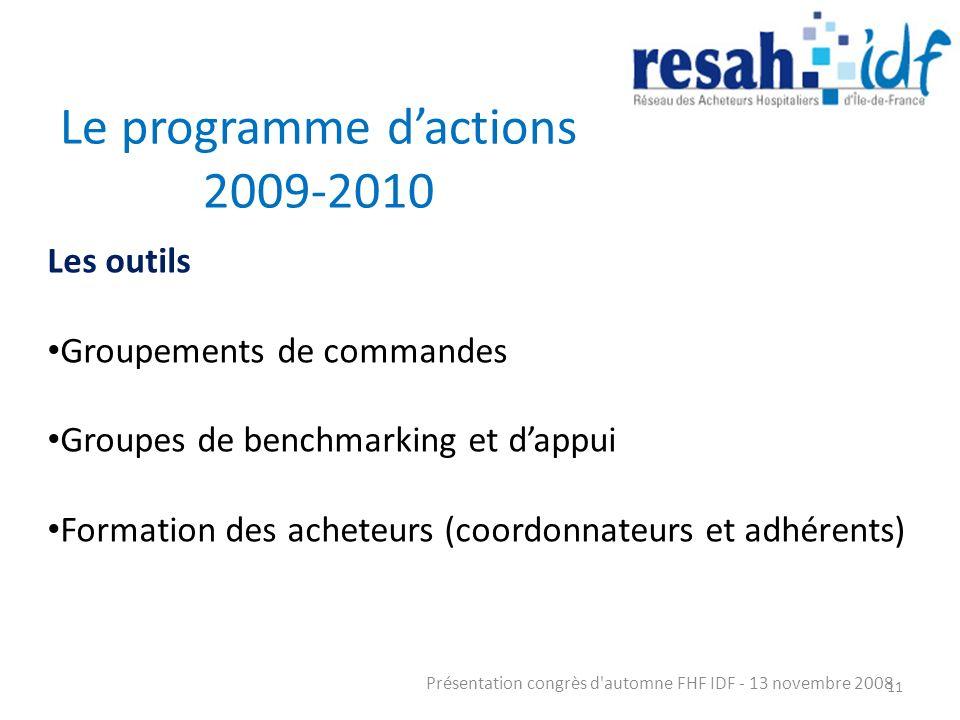 Le programme dactions 2009-2010 Présentation congrès d'automne FHF IDF - 13 novembre 2008 11 Les outils Groupements de commandes Groupes de benchmarki