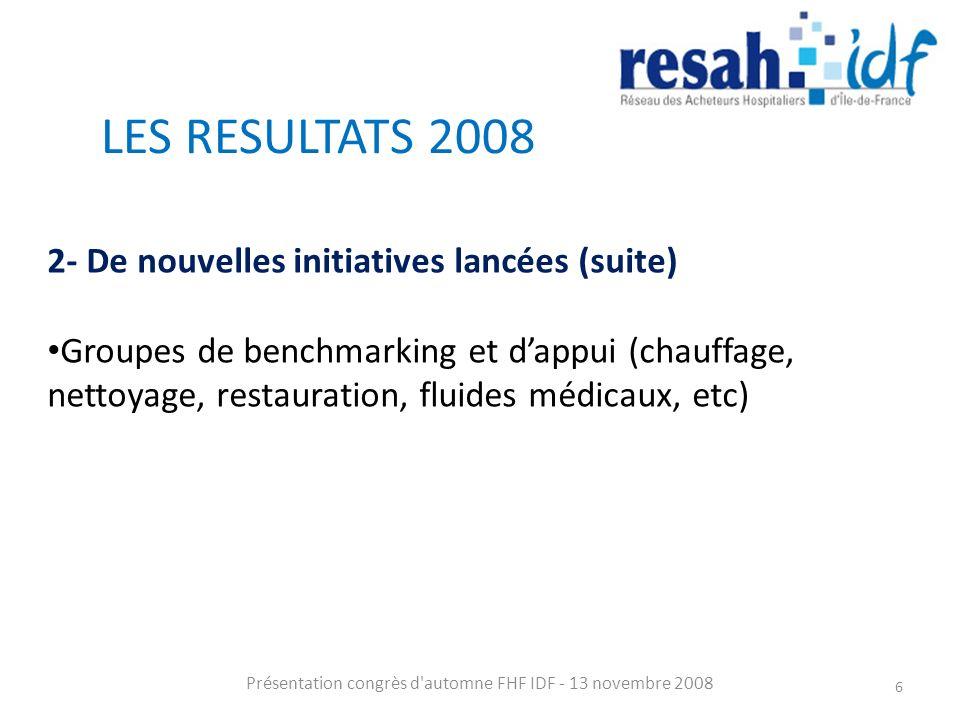 LES RESULTATS 2008 Présentation congrès d automne FHF IDF - 13 novembre 2008 6 2- De nouvelles initiatives lancées (suite) Groupes de benchmarking et dappui (chauffage, nettoyage, restauration, fluides médicaux, etc)