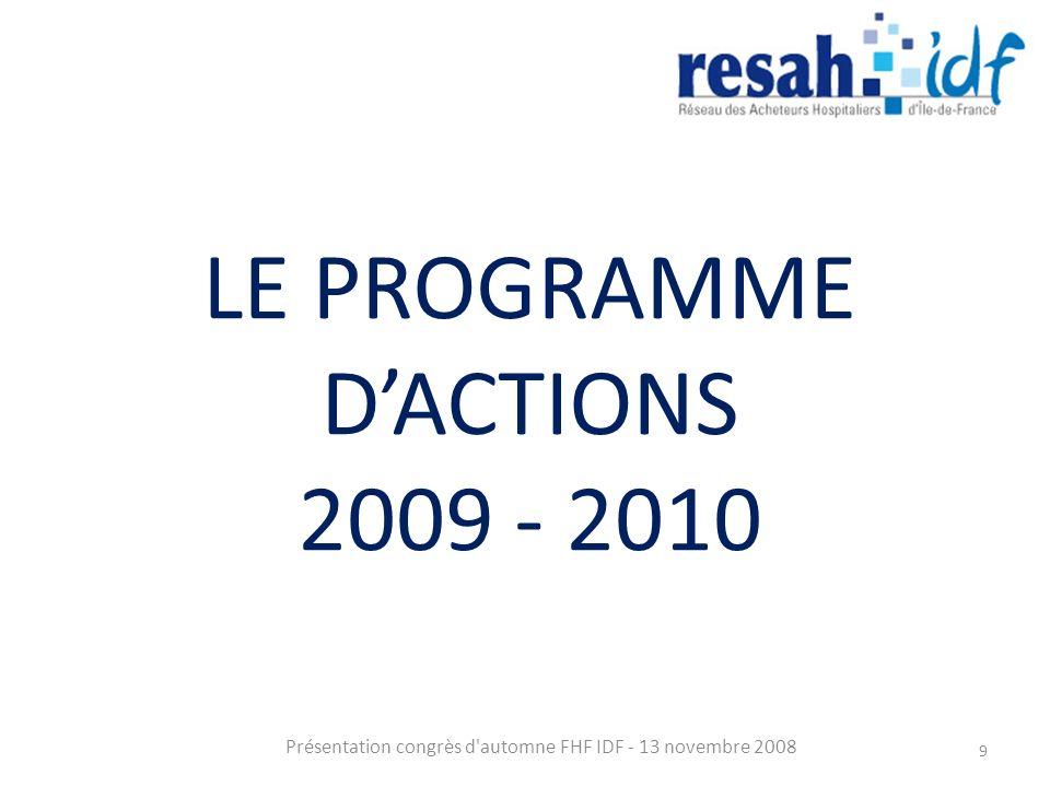 LE PROGRAMME DACTIONS 2009 - 2010 Présentation congrès d automne FHF IDF - 13 novembre 2008 9