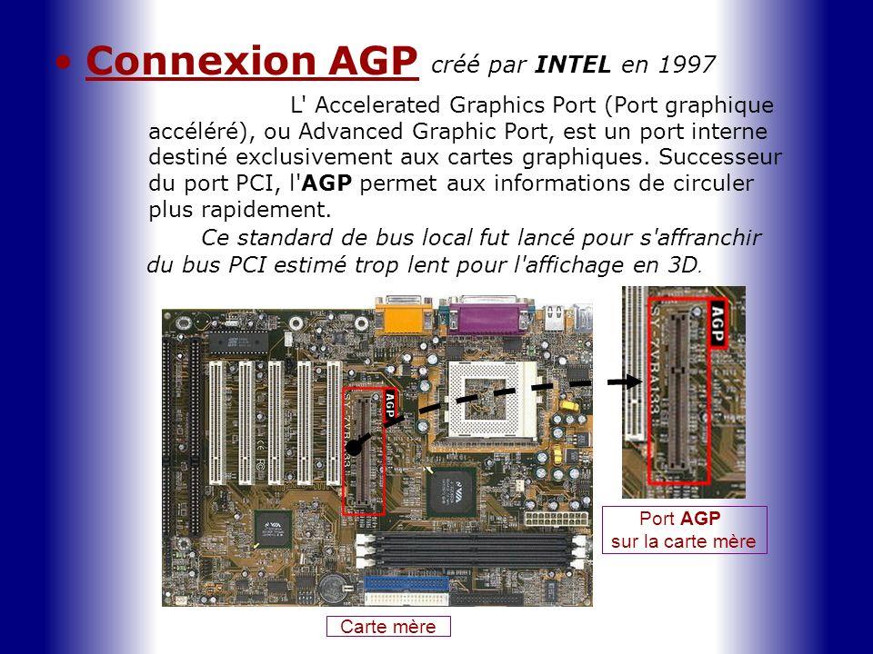 Connexion AGP L' Accelerated Graphics Port (Port graphique accéléré), ou Advanced Graphic Port, est un port interne destiné exclusivement aux cartes g