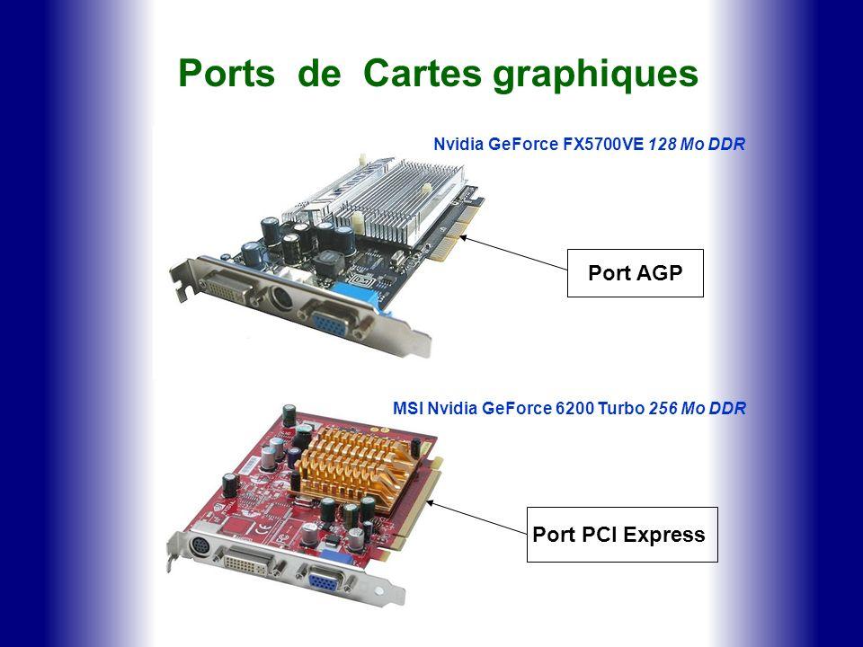 Ports de Cartes graphiques Nvidia GeForce FX5700VE 128 Mo DDR MSI Nvidia GeForce 6200 Turbo 256 Mo DDR Port PCI Express Port AGP