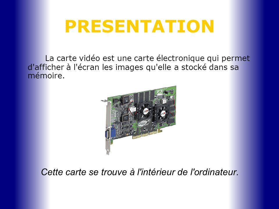 PRESENTATION La carte vidéo est une carte électronique qui permet d'afficher à l'écran les images qu'elle a stocké dans sa mémoire. Cette carte se tro