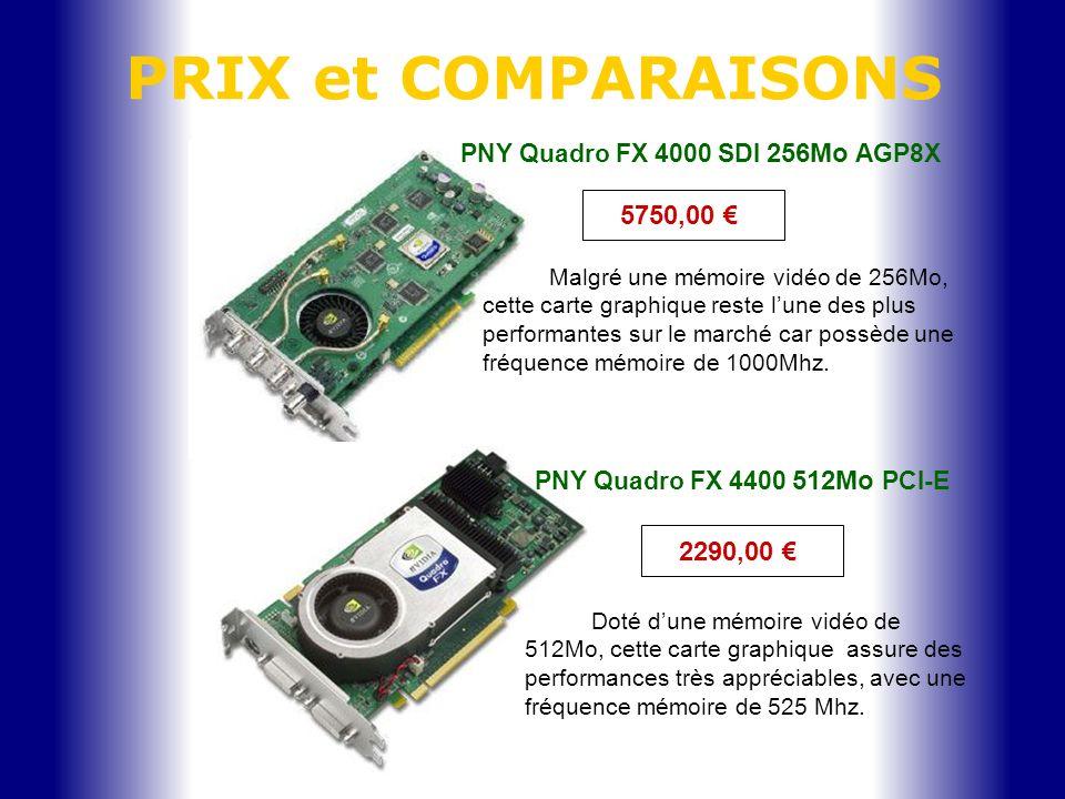 PNY Quadro FX 4000 SDI 256Mo AGP8X Malgré une mémoire vidéo de 256Mo, cette carte graphique reste lune des plus performantes sur le marché car possède