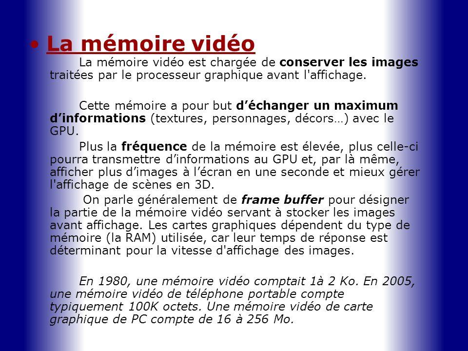 La mémoire vidéo La mémoire vidéo est chargée de conserver les images traitées par le processeur graphique avant l'affichage. Cette mémoire a pour but