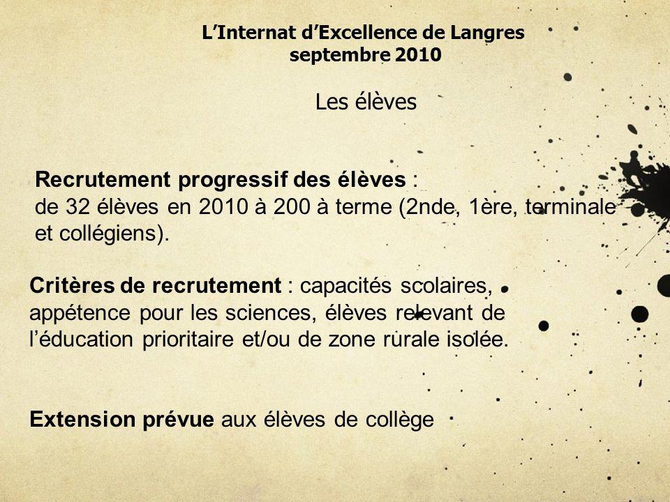 LInternat dExcellence de Langres septembre 2010 Les élèves Recrutement progressif des élèves : de 32 élèves en 2010 à 200 à terme (2nde, 1ère, terminale et collégiens).