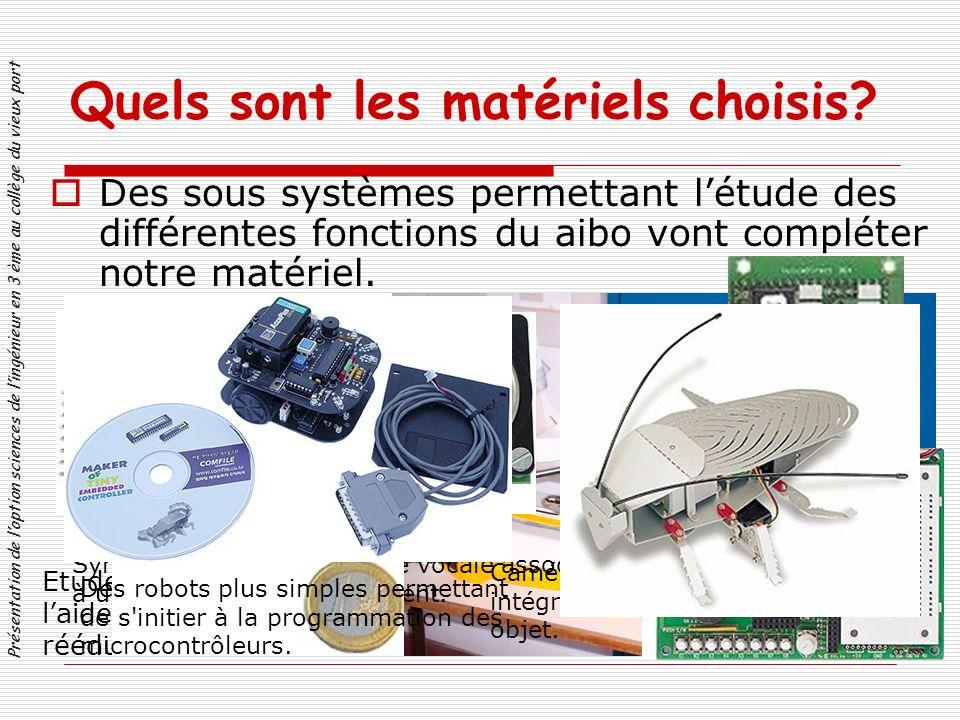 Des sous systèmes permettant létude des différentes fonctions du aibo vont compléter notre matériel.