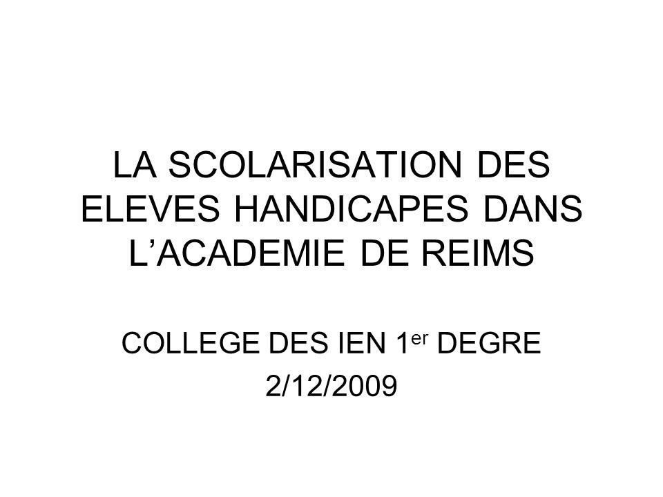Evolution du nombre délèves handicapés scolarisés en milieu ordinaire (scolarisation individuelle + scolarisation collective) dans le 1 er et le 2 nd degré dans lacadémie de Reims 2006/20072007/20082008/20092009/2010 Ardennes770835889.