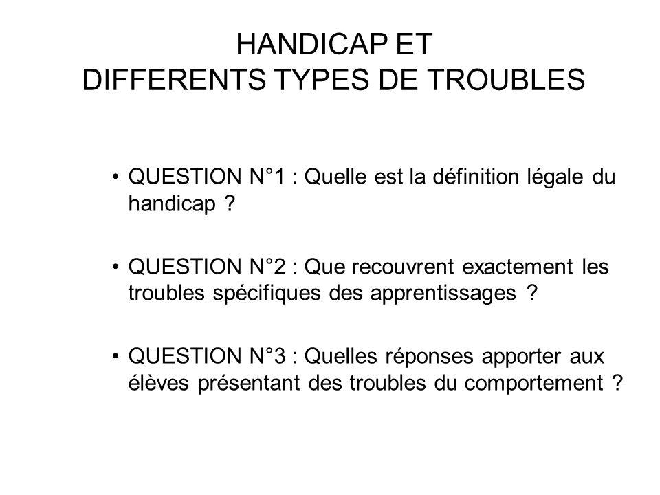 HANDICAP ET DIFFERENTS TYPES DE TROUBLES QUESTION N°1 : Quelle est la définition légale du handicap .