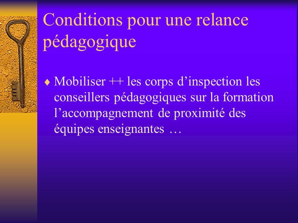 Conditions pour une relance pédagogique Mobiliser ++ les corps dinspection les conseillers pédagogiques sur la formation laccompagnement de proximité des équipes enseignantes …